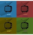 Color set retro tv flat modern web button with vector