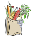 Paper bag with foods vector