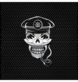 Silver smoking captain skull with tobacco pipe on vector