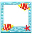 Framework for photos sea theme fishes vector