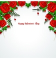 Red roses with leaves background vector