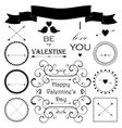 Decorative set of artistic valentins day elements vector