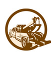 Tow truck wrecker rear retro vector