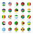 Africa flag icons hexagon flat design vector