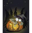 Halloween pumking and evil monster vector