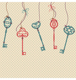 With vintage keys bows and beads vector