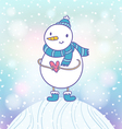 Funny snowman on the hill vector