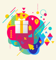 Gift box on abstract colorful spotted background vector
