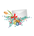 Orange tulip in envelope with christmas balls vector
