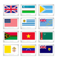 Gallery of countries flags on metal texture plates vector