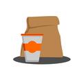 Paper bag with food and styrofoam cup vector