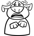 Crying dog cartoon coloring page vector