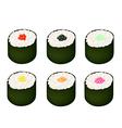 Set of tobiko roe sushi on white background vector