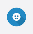 Smile flat blue simple icon with long shadow vector