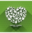 Organic food icons heart shape with organic vector
