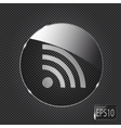 Glass rss button icon on metal background vector