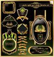 Golden labels and design elements set vector