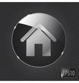 Glass home button icon on metal background vector