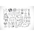 Hand doodle business icon set idea design vector