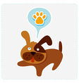 Cute cartoon dog with paw icon vector