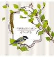 Vintage background with birch branches and tit vector