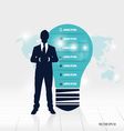 Businessman showing light bulb with infographic vector