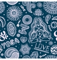 Beautifull seamless yoga pattern with ornaments vector