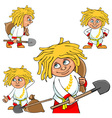 Cartoon character village boy in various poses vector