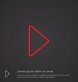 Play outline symbol red on dark background logo vector