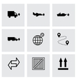 Black logistic icons set vector