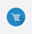 Shopping cart flat blue simple icon with long vector