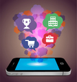 Smart phone and bubble concept vector