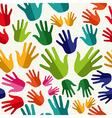 Diversity human hands seamless pattern vector