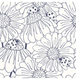 Ladybug and daisy outline seamless pattern vector