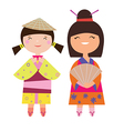Two asian girls vector