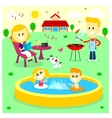 Family fun time at the backyard house vector