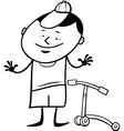 Boy with scooter coloring page vector