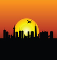 City silhouette with sunshine and plane vector
