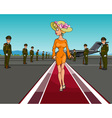 Cartoon elegant woman in a hat walking on the red vector