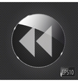 Glass button icon on metal background vector