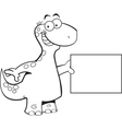 Cartoon brontosaurus holding a sign vector