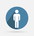 Circle blue icon with shadow silhouette of a man vector
