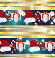 New year pattern with santa hat gift and striped vector