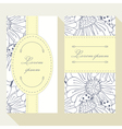 Business card set with outline ladybug and daisy vector