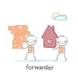 Forwarder carries a box with the goods and home vector