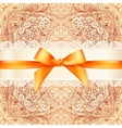 Vintage wedding card template with orange bow vector