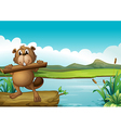 A beaver above a floating trunk holding a piece of vector