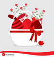 Basket with easter eggs and flower vector