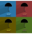 Color set umbrella flat modern web button with vector