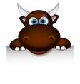 Cute buffalo cartoon posing with blank sign vector